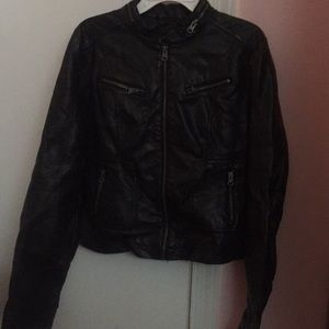 fake leather jacket black